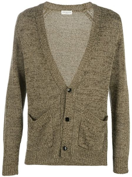 Dries Van Noten Knitted Cardigan in Brown for Men - Lyst