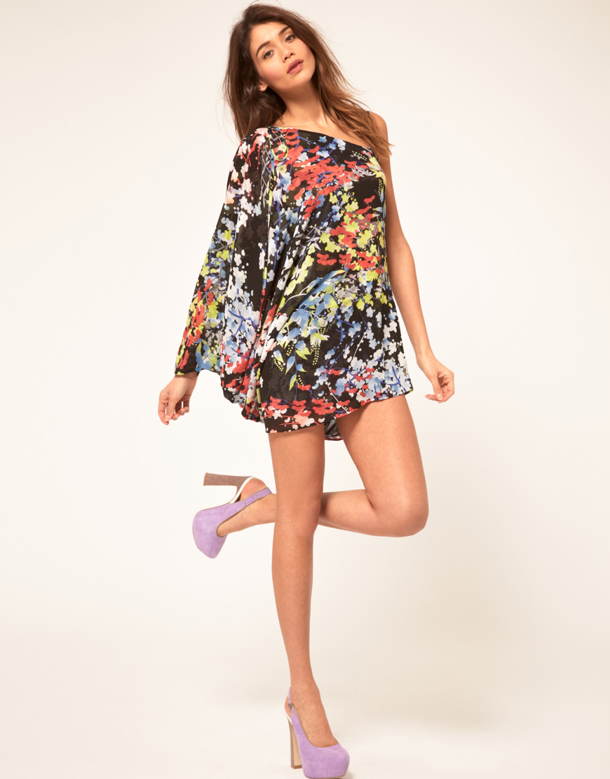 Miss sixty Asymmetric Dress With Floral Print in Black