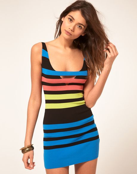 miss sixty knitted body con dress in multicolor black lyst. Black Bedroom Furniture Sets. Home Design Ideas