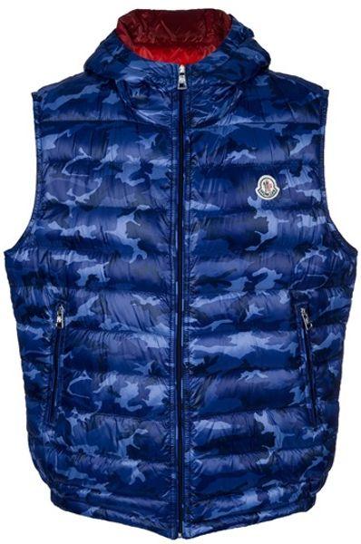 Moncler Camouflage Gilet In Blue For Men Lyst
