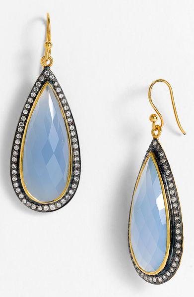 Nunu Designs Long Teardrop Earrings In Gold Gold Blue