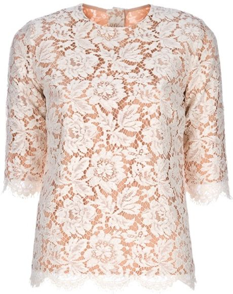 Stella Mccartney Lace Top in Beige (nude) - Lyst