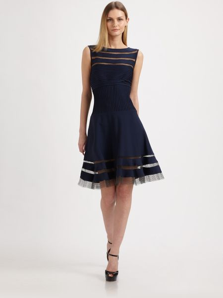Tadashi Shoji Flounce Skirt Dress In Blue Navy Lyst