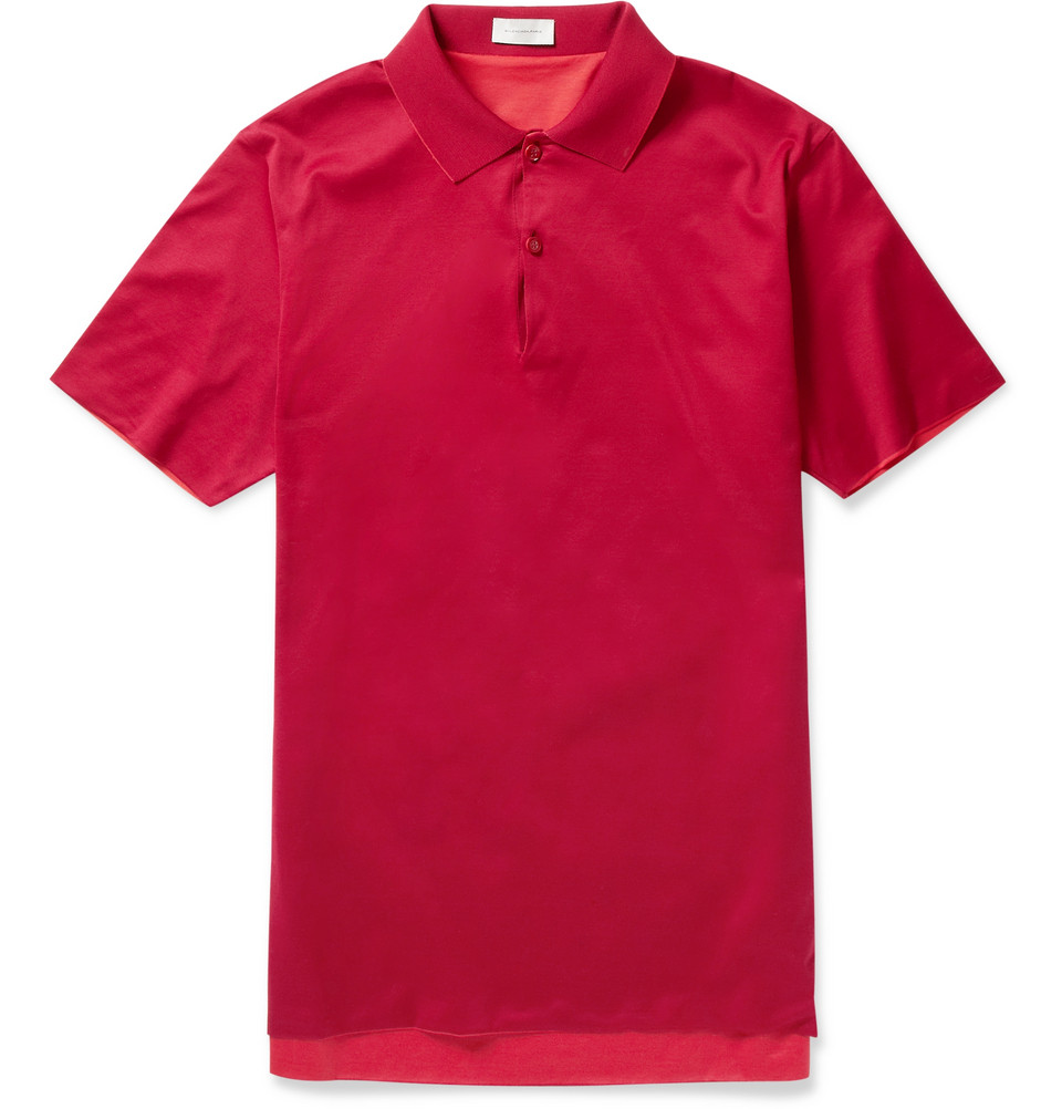 Balenciaga Reversible Slimfit Cotton Polo Shirt In Red For