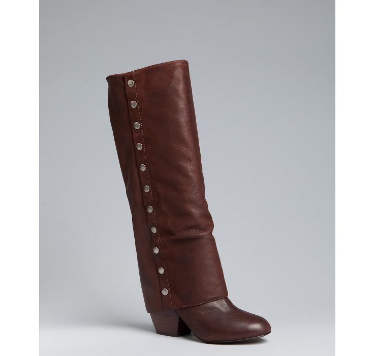 Lyst Botkier Coffee Leather Holden Studded Foldover Tall