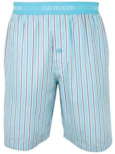 Calvin Klein Woven Jam Stripe Lounge Shorts In Blue For
