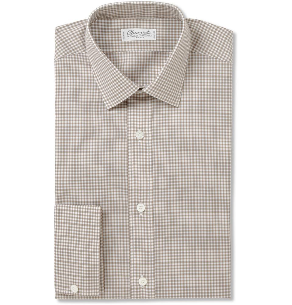 Charvet Gingham Check Cottonbatiste Shirt In Green For Men