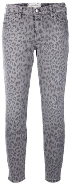 Current/elliott Leopard Print Jeans in Gray (leopard) - Lyst