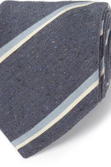 E. Tautz Wide Trinity Striped Silk and Linenblend Tie - Lyst