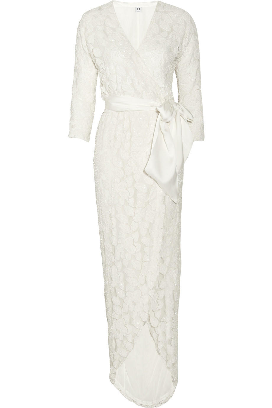 Lyst Halston Embellished Tulle Wrap Dress In Natural
