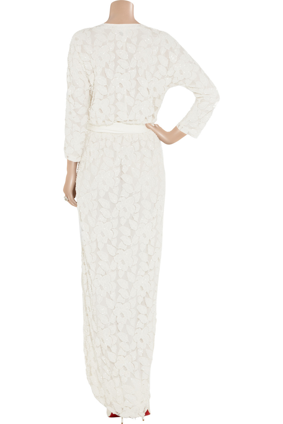Halston Embellished Tulle Wrap Dress In White Natural Lyst