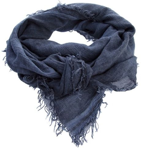 Jil Sander Frayed Scarf in Blue