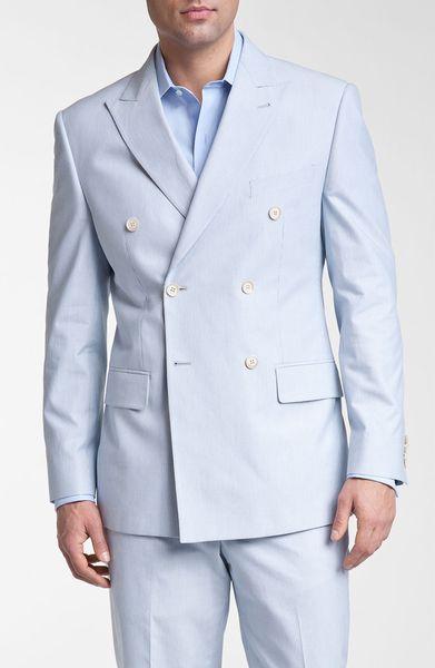 Joseph Abboud Double Breasted Cotton Seersucker Suit in ...