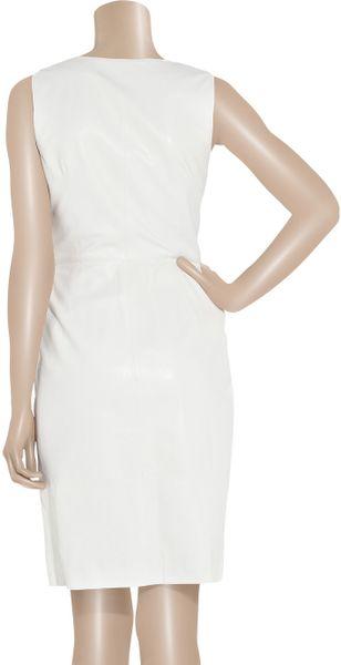 Oscar De La Renta Nappa Leather Wrap Dress In White Lyst