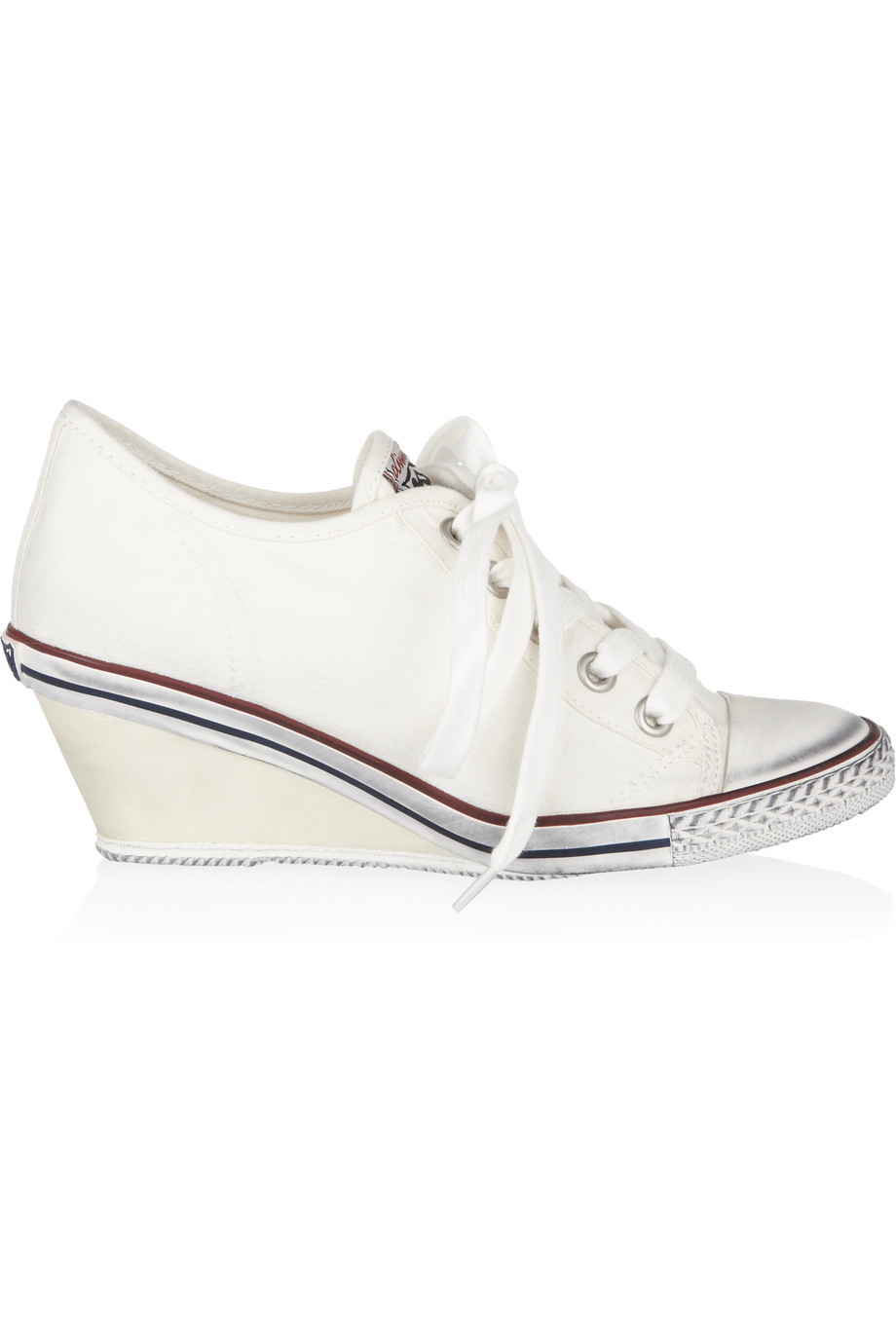 ash canvas wedge sneakers in white lyst