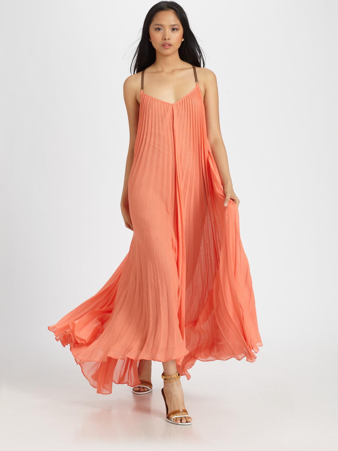 Bcbgmaxazria Edita Pleated Sunburst Maxi Dress In Orange