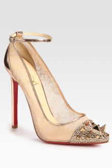 Christian Louboutin Picks Co Crystal Studembellished Lace and Metallic Leather Pumps - Lyst