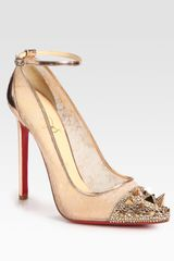 Christian Louboutin Picks Co Crystal Stud Embellished  Leather Pumps