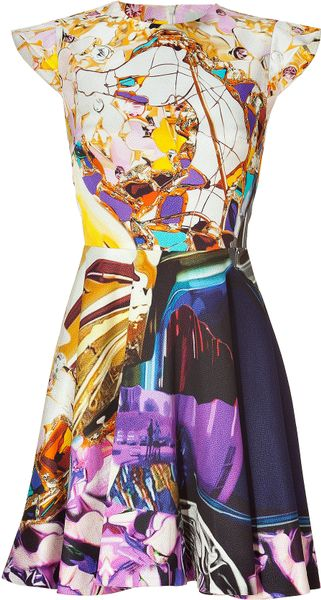 Mary Katrantzou Multicolor Wallpaper Print Cap Sleeve Dress in Multicolor - Lyst