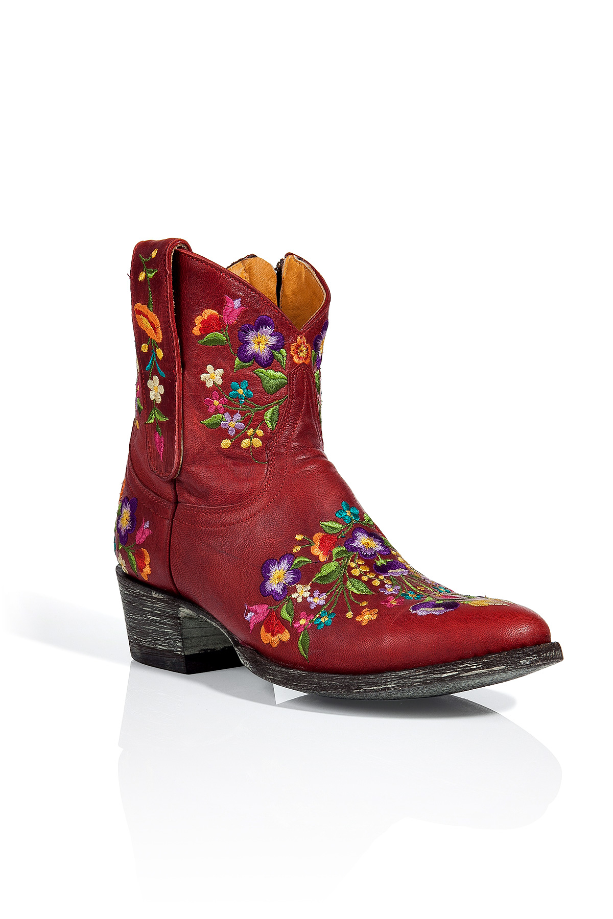 Mexicana Fire Red Embroidered Ankle Boots Lyst