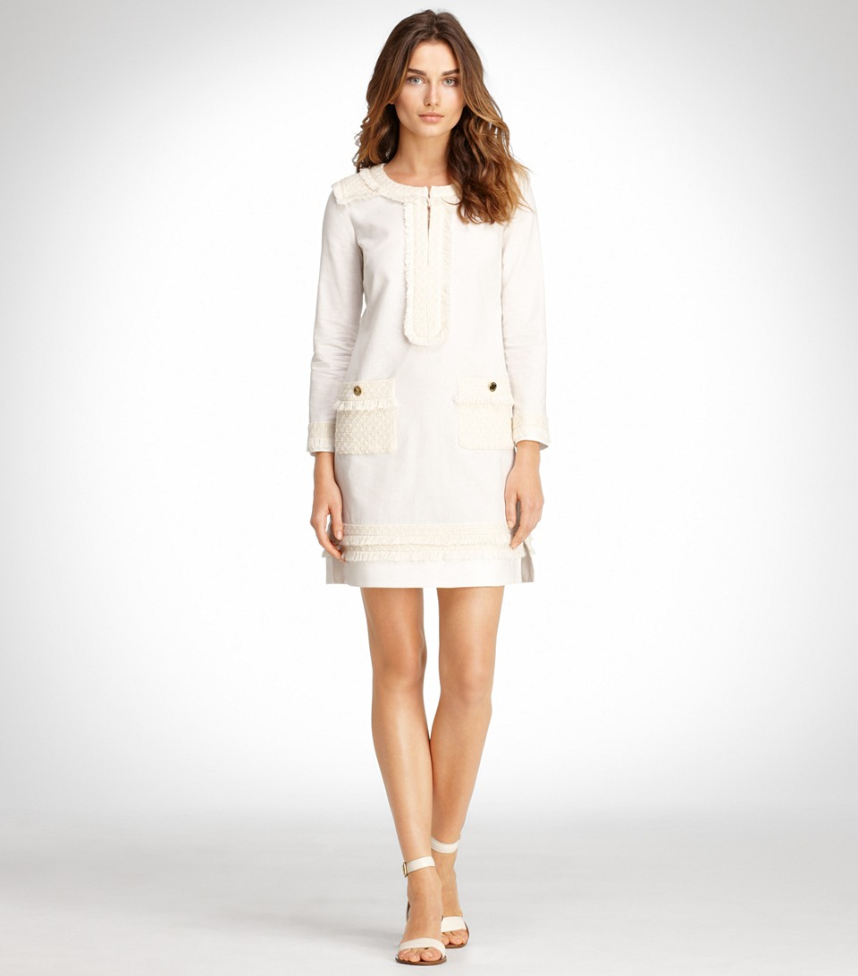 Lyst tory burch gertrude dress in natural for Tory burch fashion island