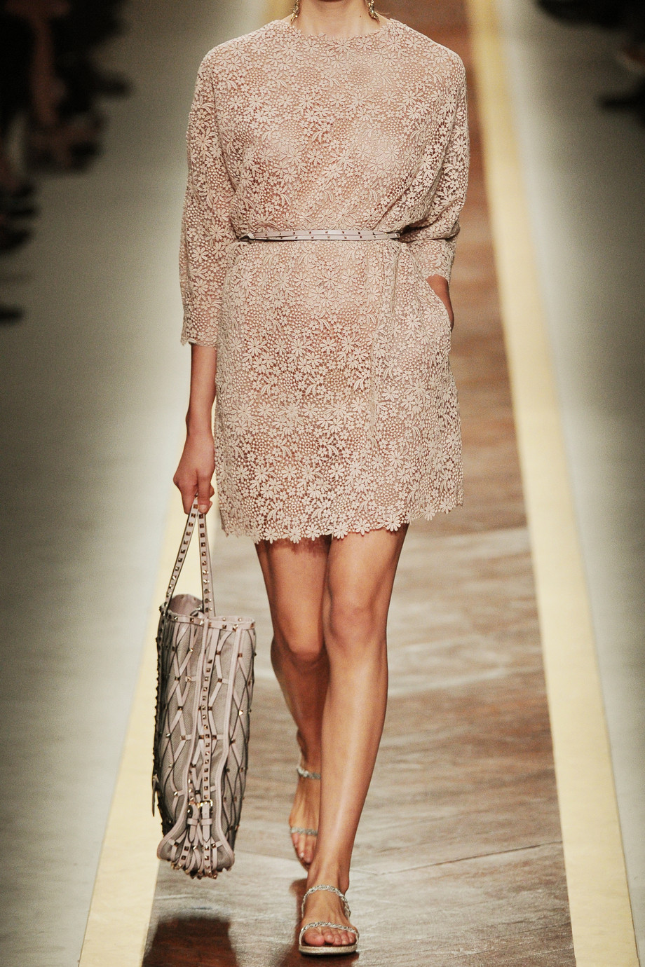 Valentino Cotton Lace Dress In Powder Natural Lyst