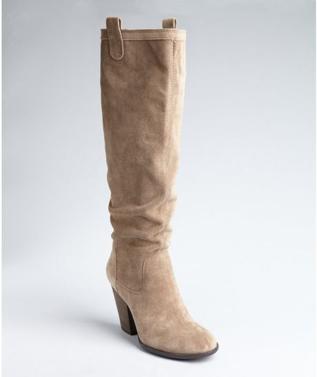 vince camuto taupe suede braden slip on boots in brown