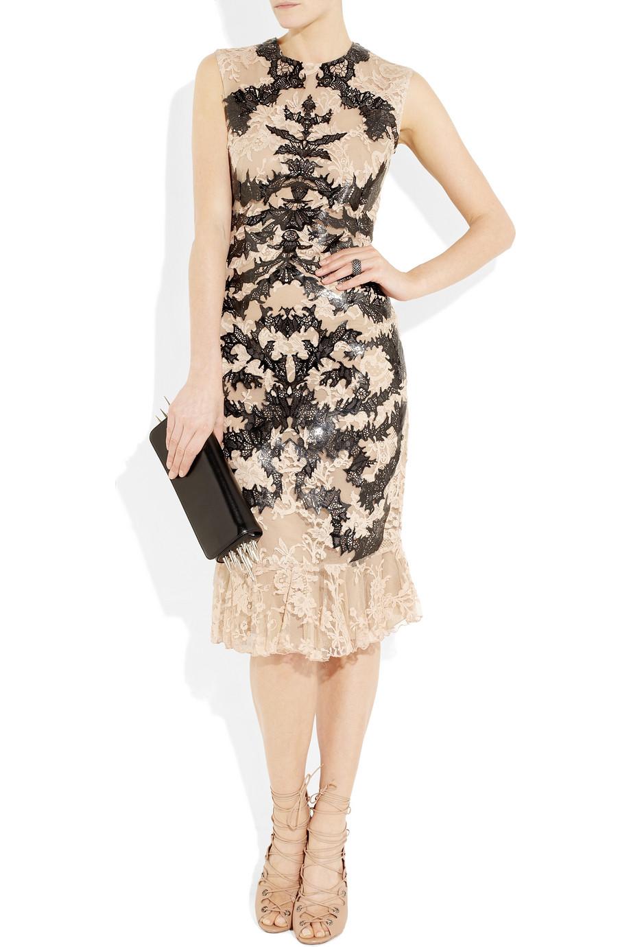 Lyst Alexander Mcqueen 3 4 Sleeve Butterfly Knit Pencil Dress In Black