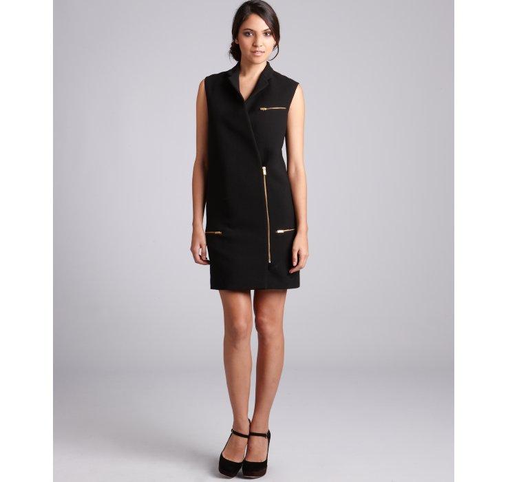 Céline Black Wool Sleeveless Zip Coat Dress in Black | Lyst