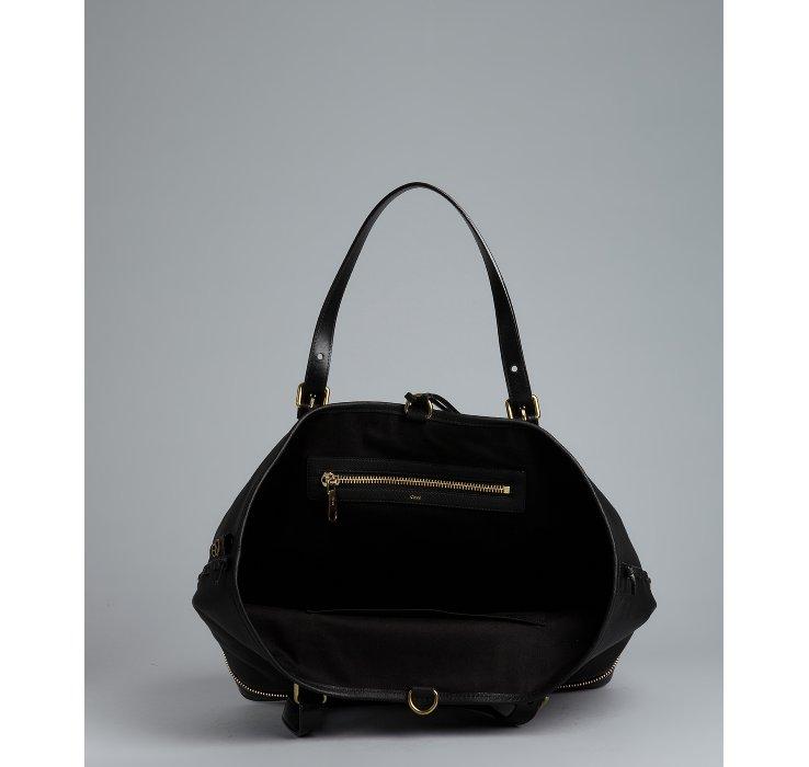 replica chloe wallet - Chlo�� Black Leather Ellen Moyen Zip Bottom Tote Bag in Black | Lyst