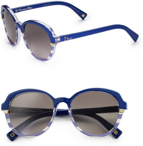 Dior Striped Plastic Round Sunglasses in Blue - Lyst
