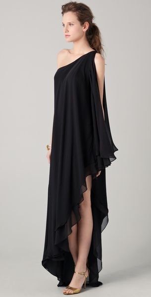 Halston Heritage One Shoulder Cascade Gown in Black