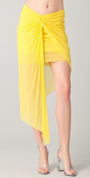Helmut Lang Twist Front Skirt in Yellow