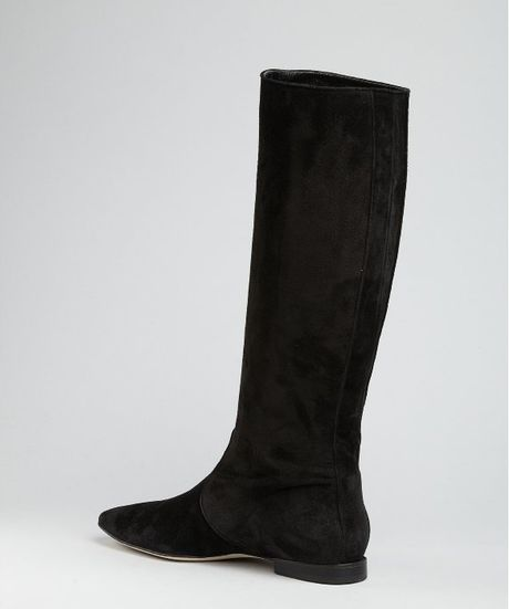 manolo blahnik black suede furio flat boots in black lyst