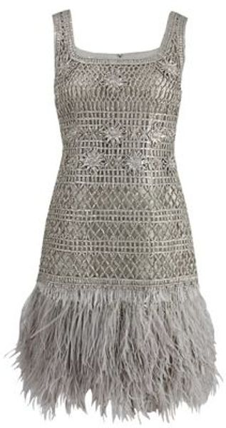Oscar De La Renta Sleeveless Lame Dress with Feather Hem in Silver