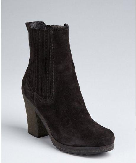 prada sport black suede rubber heel ankle boots in black