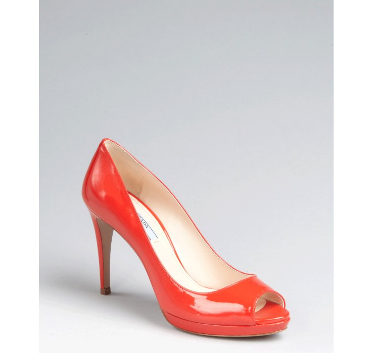 c76e924fa37d Lyst - Prada Red Patent Leather Peep Toe Platform Pumps in Red