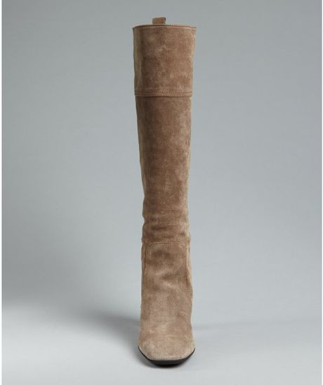 tod s light brown suede leather jodie pullon boots in