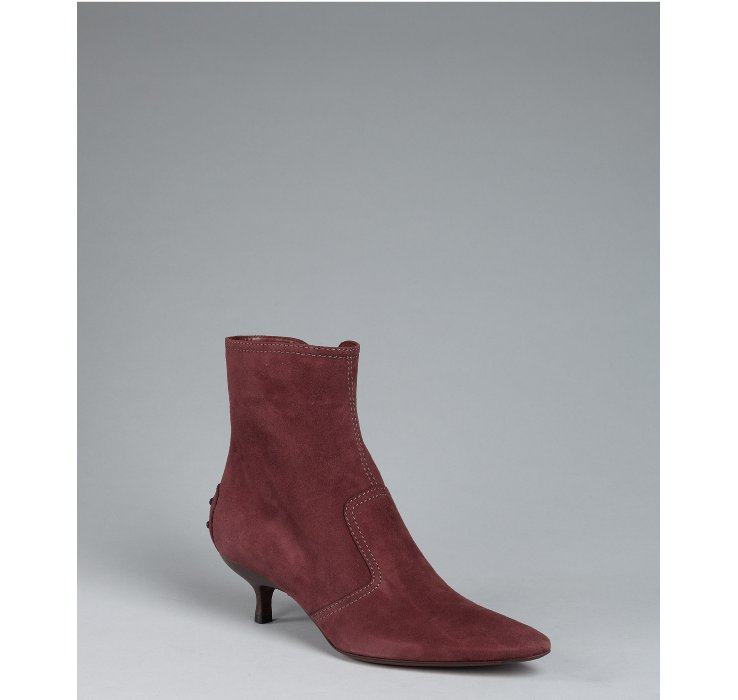 Lyst Tod S Plum Suede Kitten Heel Ankle Booties In Brown