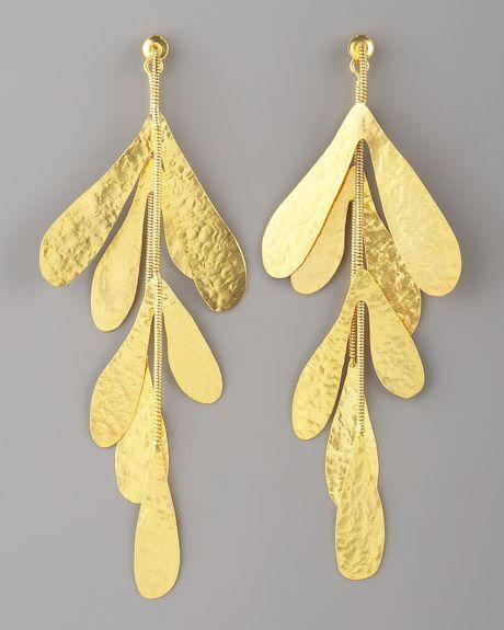 herve van der straeten cascading coral earrings in gold lyst. Black Bedroom Furniture Sets. Home Design Ideas