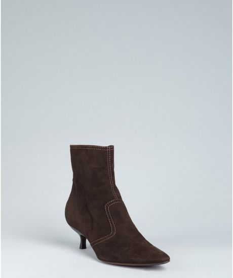 tod s brown suede fifty ankle boots in brown lyst