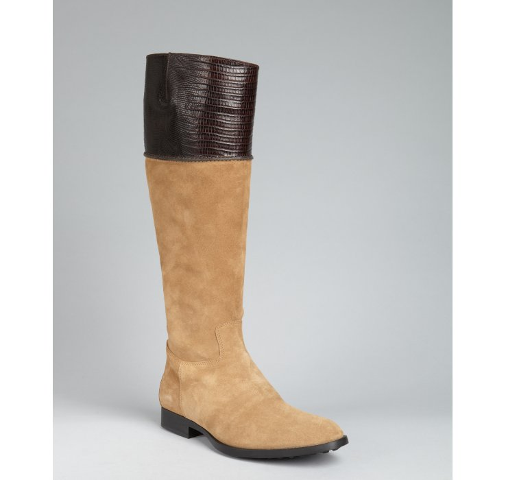 tod s light brown suede charl croc embossed boots