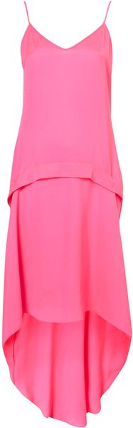 Topshop Fluro Dip Hem Dress - Lyst