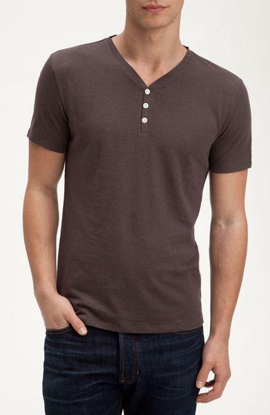 Vince Linen Cotton Henley Tshirt In Brown For Men