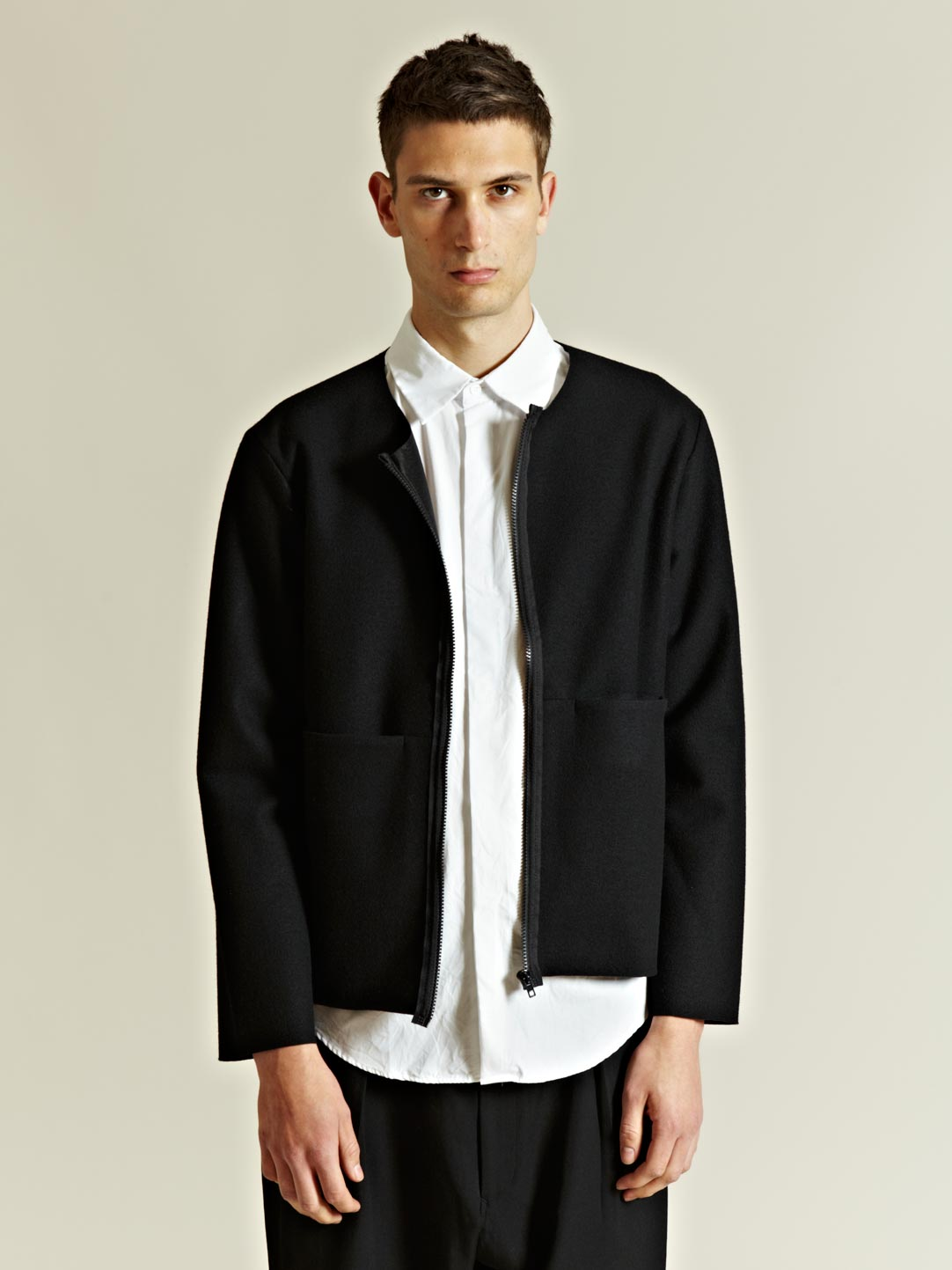 Unused Collarless Wool Jacket in Black for Men | Lyst