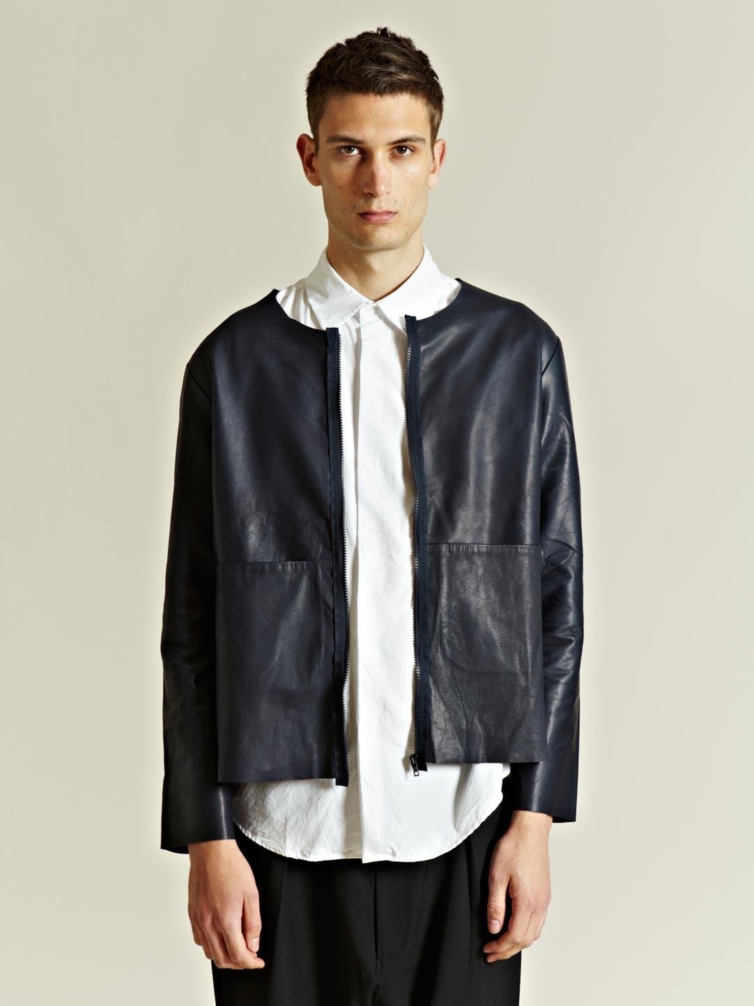 Unused Collarless Cowhide Leather Jacket in Black for Men | Lyst