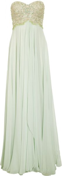 Marchesa beaded silk chiffon gown in green lyst