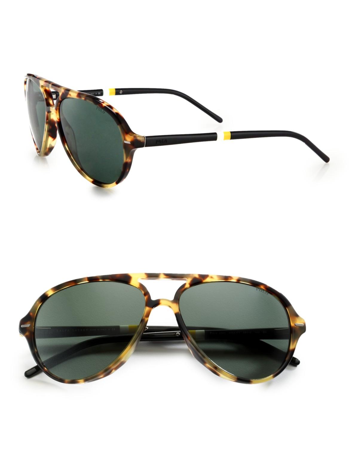 Ralph Lauren Polarized Aviator  ralph lauren polo mallot aviator sunglasses in brown for men lyst
