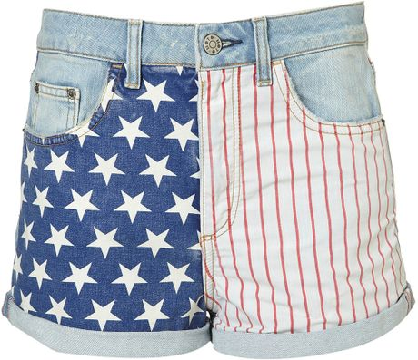 Topshop Tall American Flag Hotpants in Blue (bleach stone) - Lyst