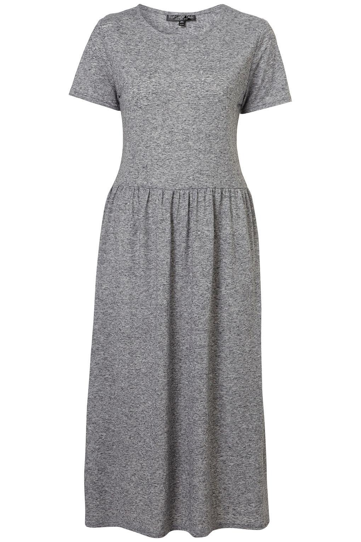 Topshop Tall Speckle Midi Dress in Gray (grey marl)